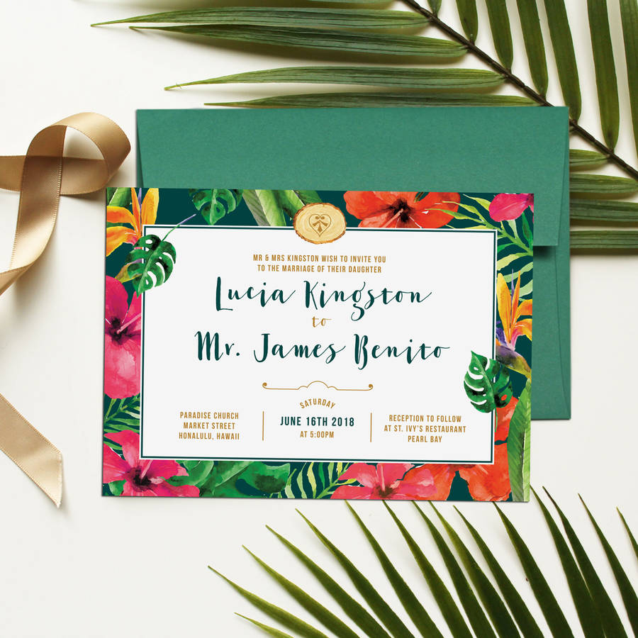 Hawaii Tropical Floral Wedding Invitation By Vanilla Retro