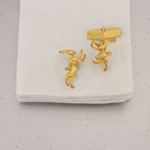 Boxing Hares Cufflinks In 9 Ct Gold Vermeil - new in fashion