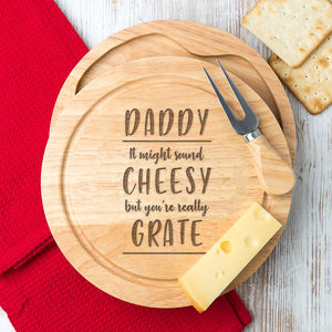 'You're Really Grate' Cheese Board And Knife Set - cheese knives