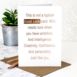 Good Luck Card 'Not A Typical' Rose Gold Foil - shop by category