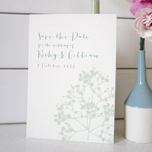 Gypsophila Wedding Save The Date Card - on trend: botanical