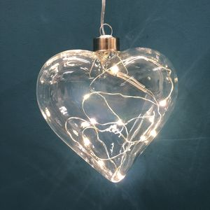 Glass Heart Light Bauble Decoration - room decorations