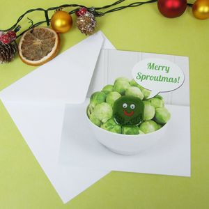 Christmas Card With Handmade Fused Glass Sprout Brooch