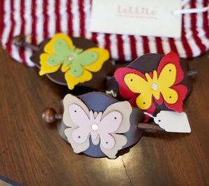 Butterfly Leather Hair Slide - sale