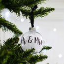 Personalised Mr And Mrs Feather Christmas Bauble