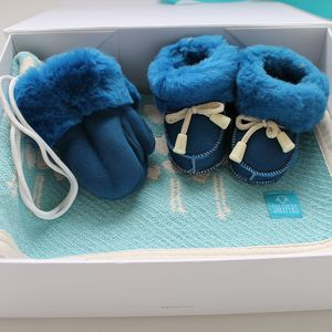 Baby Turquoise Sheepskin And Blanket Gift Set