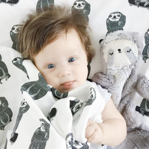 Skating Sloth Baby Blanket - sleeping