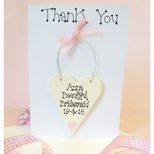 Bridesmaid Personalised Thank You Card - thank you wedding cards