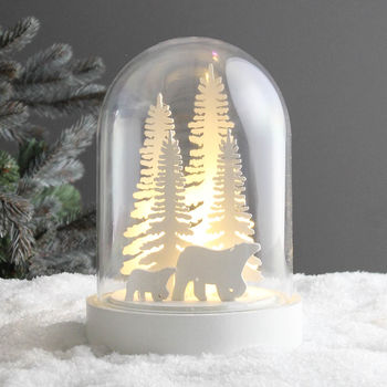 LED Light Up Polar Bears Forest Dome
