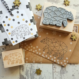 Christmas Stamp With Geometric Bear - card-making kits