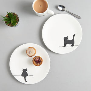 Standing Cat And Crouching Cat Side Plate, Set Of Two