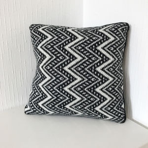 Monochrome Chevron Knitted Scatter Cushion - cushions