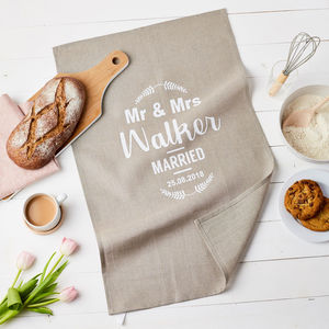 Personalised Mr And Mrs Linen Wedding Gift Tea Towel - 4th anniversary: linen