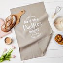 Personalised Mr And Mrs Linen Wedding Gift Tea Towel