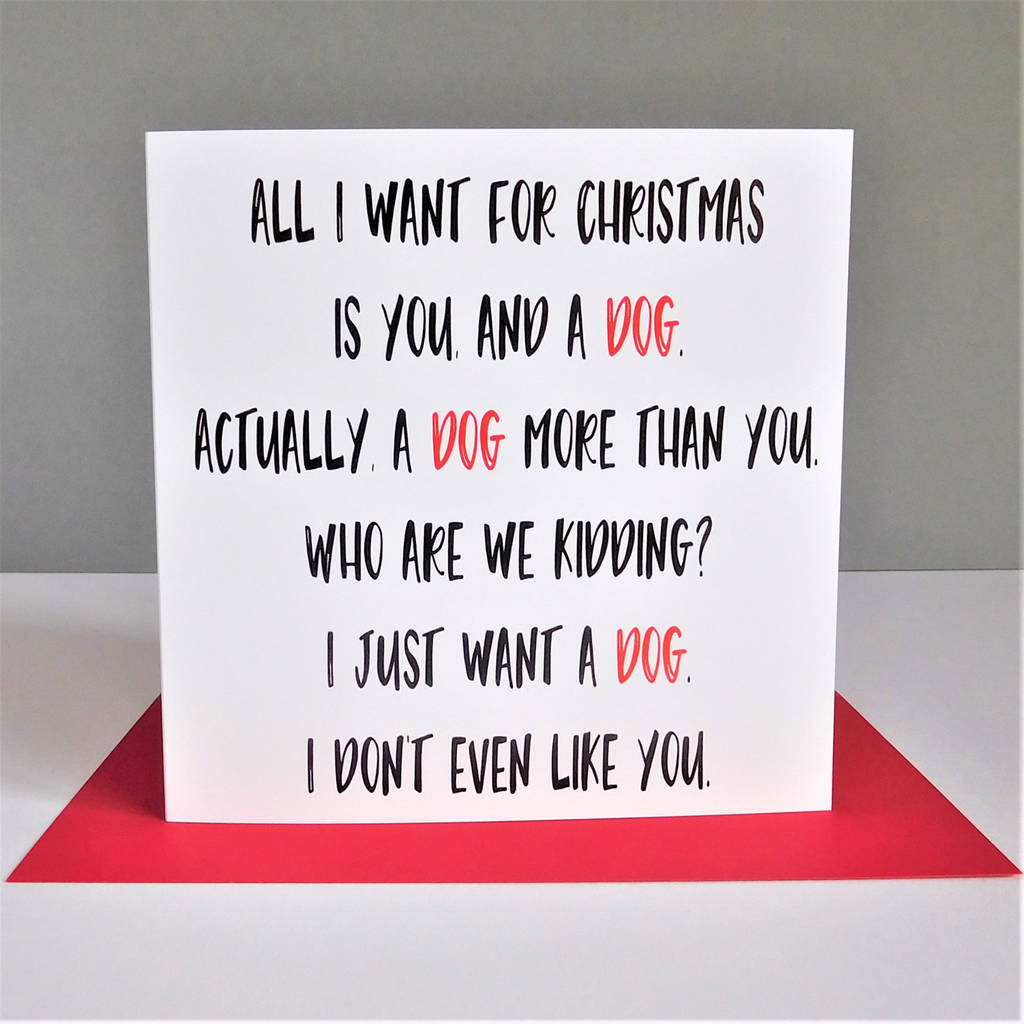 funny dog christmas card by the new witty | notonthehighstreet.com