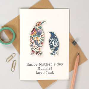 Personalised Mother's Day Liberty Penguin Card For Her