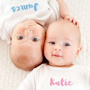 Personalised Baby Grow Set For Twins - clothing