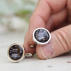 Personalised Black Car Speedometer Cufflinks - mens
