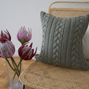 Strikk Hand Knit Knotted Cable Cushion Grey