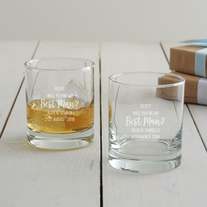 Personalised 'Will You Be My Best Man?' Whisky Glass - summer sale