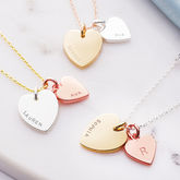 Personalised Double Heart Charm Necklace - trends