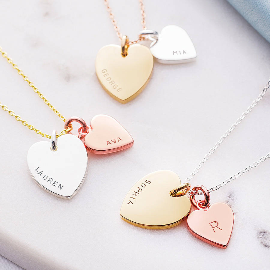 Personalised Double Heart Charm Necklace By Lisa Angel