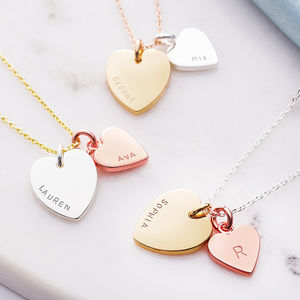 Personalised Double Heart Charm Necklace - rose gold jewellery