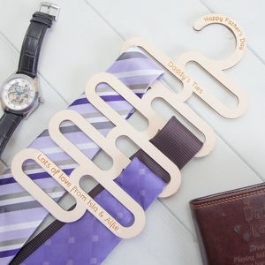 Personalised Birchwood Tie Hanger - storage & organisers