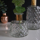 Gold Trimmed Dimpled Textured Glass Vase