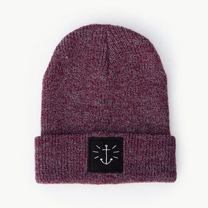 'Anchor' Heather Plum Beanie And Bag - womens