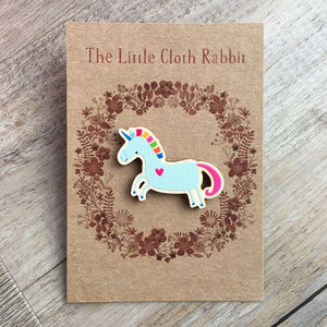 Unicorn Gift Wooden Brooch: Jewellery For Girls - unicorns