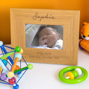 Personalised New Baby Girl Photo Frame - picture frames