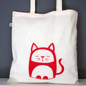 Contented Cat Organic Cotton Tote Bag - women's accessories