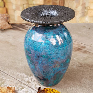 Flat Top Bead Glazed Raku Bottle