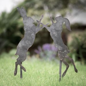 Decorative Metal Boxing Hares Garden Stake