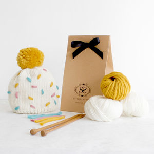 Make Your Own Sprinkles Hat Twinning Knitting Kit - gifts for her