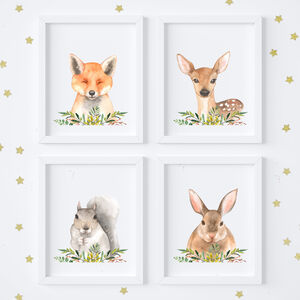 Woodland Animals Nursery Art Print Set