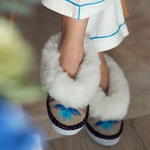 White Sheepskin Slippers With Turquoise Embroidery - gifts for mothers