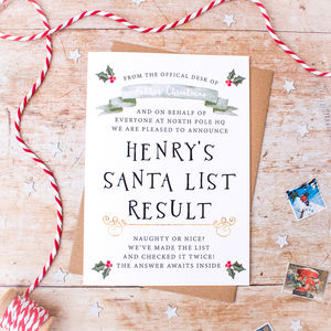 Personalised Santa's Nice List Results Christmas Card - cards & wrap