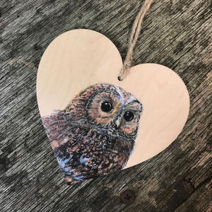 Tawny Owl Bird Wooden Hanging Heart Decoration
