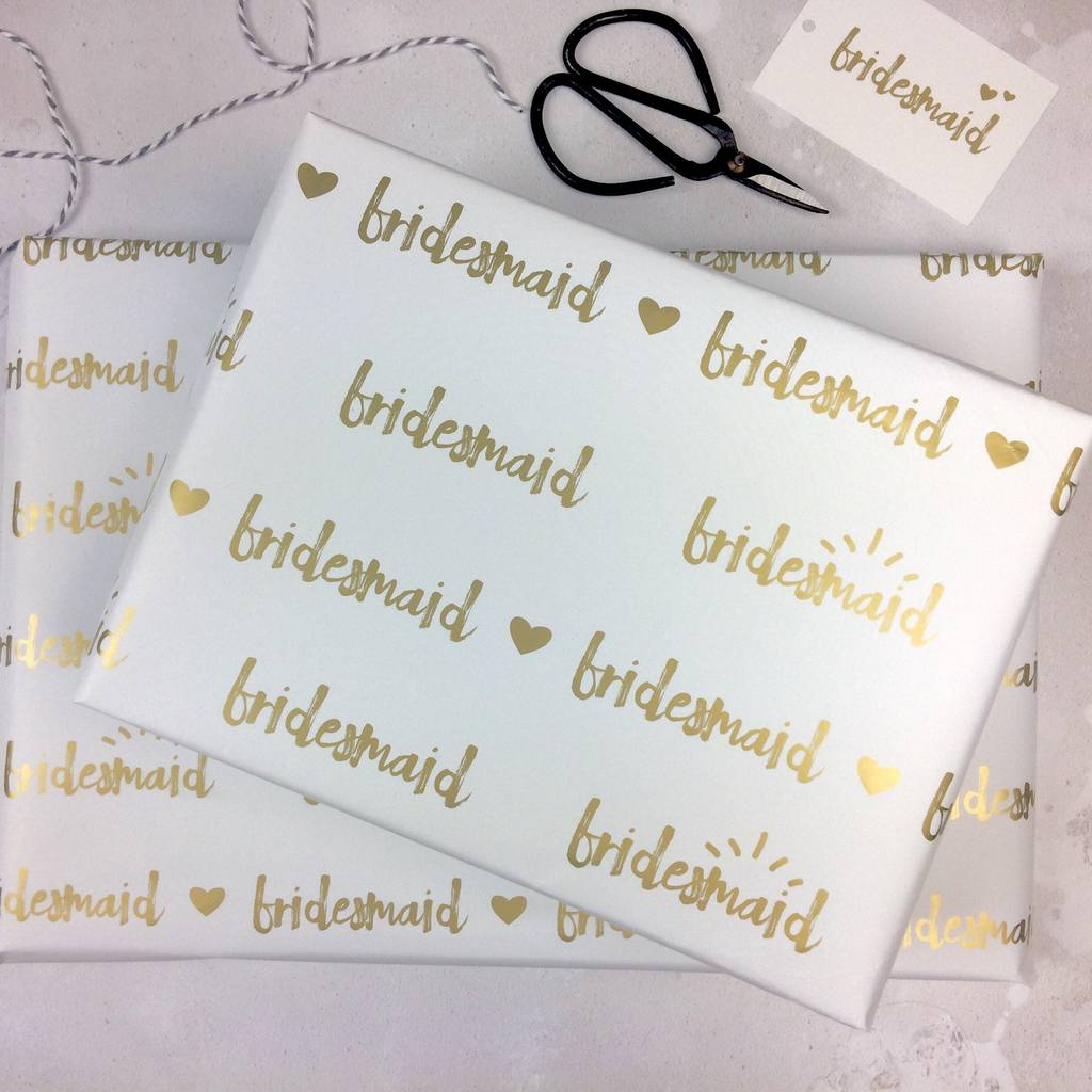 Wedding Gift Paper: Bridesmaid Wedding Wrapping Paper Set By Talk Of The Town