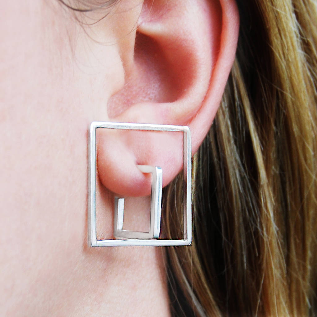 Geometric Double Square Solid Silver Stud Earrings