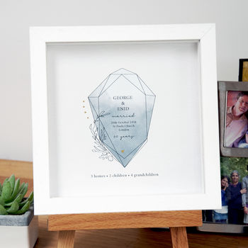 Framed 60th Anniversary Gift With Gemstone Design