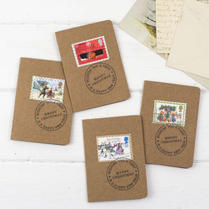 Pack Of Ten Mini Vintage Stamp Christmas Cards - cards & wrap