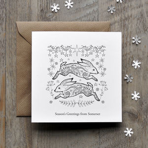 Colour In Hares Christmas Card