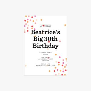 20 Confetti Personalised Birthday Party Invitations