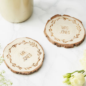 Personalised Wooden Wedding Coaster - placemats & coasters
