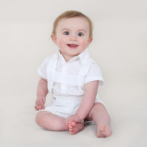 Baby Boy Christening Suspender Bloomers And Shirt Body - christening wear