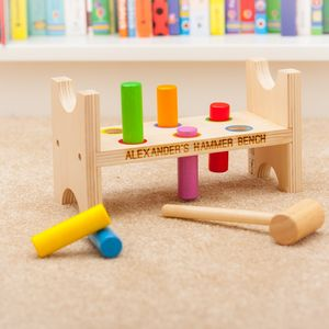 Wooden Personalised Hammer Bench Toy - educational toys
