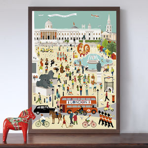 Out And About In London Trafalgar Square Art Print - posters & prints